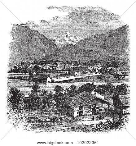 Interlaken and Jungfrau, Switzerland, during the 1890s, vintage engraving. Old engraved illustration of Interlaken and Jungfrau. Trousset encyclopedia (1886 - 1891).