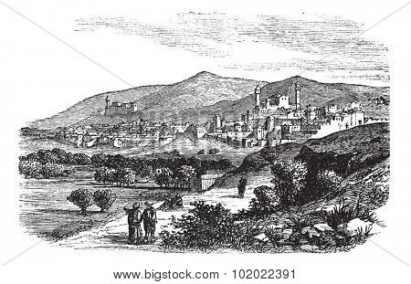 Beautiful view of buildings and mountain at Hebron vintage engraving. Old engraved illustration of buildings and mountain slope at Hebron, 1800s. Trousset encyclopedia (1886 - 1891).