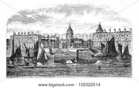 Greenwich Hospital or Royal Hospital for Seamen, Greenwich, England, during the 1890s, vintage engraving. Illustration of Greenwich Hospital with boats in front. Trousset encyclopedia 1886 - 1891