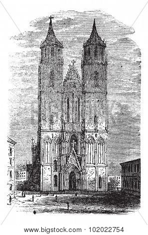 Cathedral of Magdeburg or Cathedral of Saints Catherine and Maurice in Germany, during the 1890s, vintage engraving. Trousset encyclopedia (1886 - 1891).