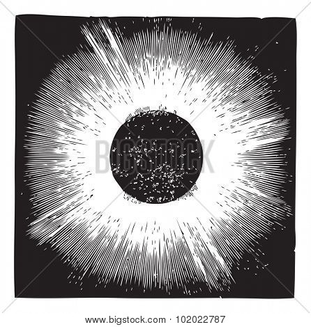 Solar corona, during solar eclipse of 1860, vintage engraving. Old engraved illustration of Solar corona with solar eclipse. Trousset encyclopedia (1886 - 1891).