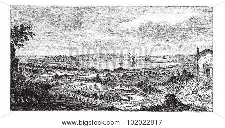 Syracuse. - Ruins of the theater to the forefront, vintage engraved illustration.Trousset encyclopedia (1886 - 1891).