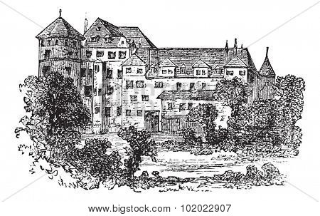 Stuttgart, the former palace, vintage engraved illustration. Trousset encyclopedia (1886 - 1891).