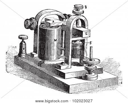 Speaker. - A frame, L, rod, M, electromagnet; SS screws, vintage engraved illustration. Trousset encyclopedia (1886 - 1891).