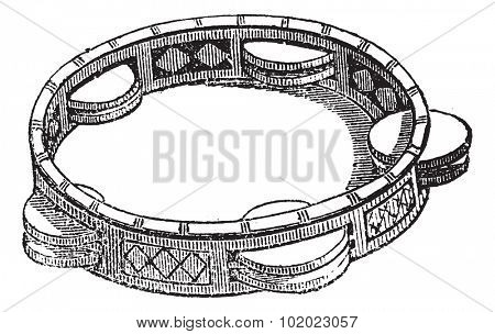 Tambourine or Marine or Tambo, vintage engraved illustration. Tambourine isolated on white. Trousset encyclopedia (1886 - 1891).