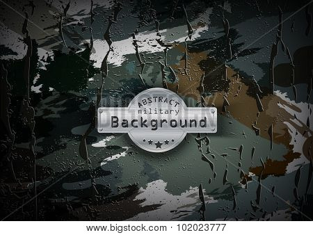 Camouflage military pattern with cracks background. Vector illustration, EPS10