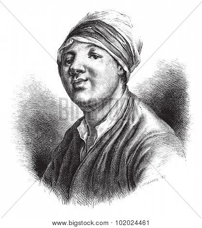 Old engraved illustration of the portrait of Jean-Baptiste Chappe d'Auteroche (astronomer), painted by Fredou and engraved by Tilliard 1874. Drawing by Edouard Garnier. Le Magasin Pittoresque - 1874.