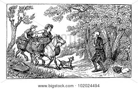 Old engraved illustration of Dr. Syntax tied with a rope and two horseback village women approach with a barking dog to rescue him,1874. Created  by Thomas Rowlandson. Le Magasin Pittoresque - 1874.