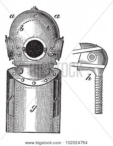 Surface-supplied Diving Equipment, vintage engraved illustration. Trousset encyclopedia (1886 - 1891).