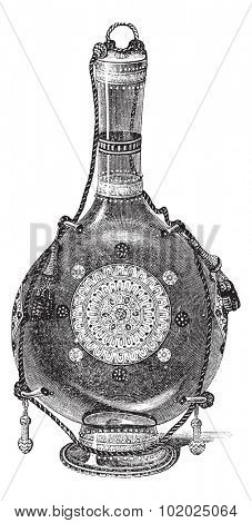 Venetian Glass Bottle, vintage engraved illustration. Trousset encyclopedia (1886 - 1891).