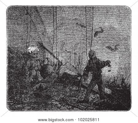 Surface supplied diving or Hooka diving, vintage engraved illustration. Trousset encyclopedia (1886 - 1891).