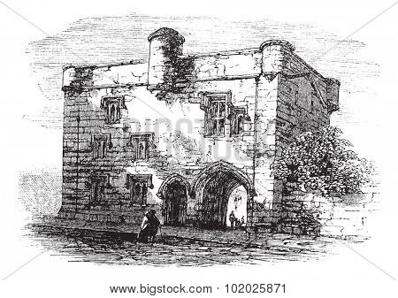 Door to Newarke, Leicester, England, United Kingdom, vintage engraved illustration. Trousset encyclopedia (1886 - 1891).
