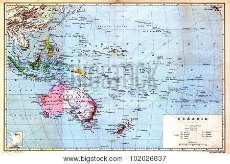 The colourful Map of Oceania with islands circled on the map. Old vintage map from the late 19th century, Trousset encyclopedia (1886 - 1891).