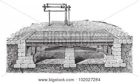 Old engraved illustration of Bascule bridge or drawbridge. Industrial encyclopedia E.-O. Lami - 1875.