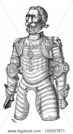 Old engraved illustration of Armor of lion also known as Louis XII at the Paris Museum of Artillery, isolated on the white background. Industrial encyclopedia E.-O. Lami - 1875.