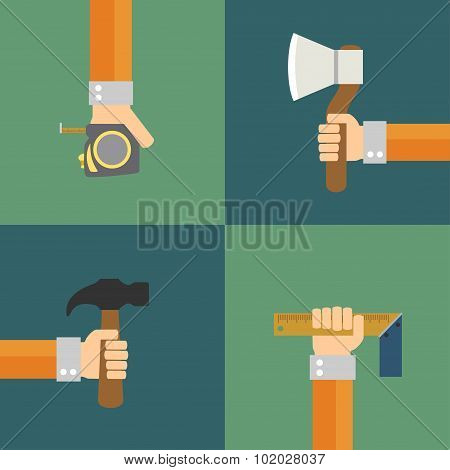 Builders Modern set flat background with hand
