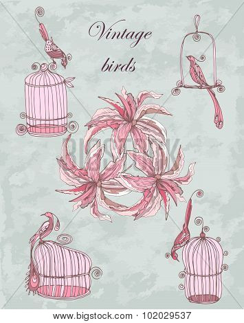 vector set vintage hand drawing birds with cages and lily in chinoiserie style for wedding, birthday