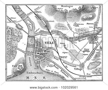 Topographic map, vintage engraved illustration. Magasin Pittoresque 1875.