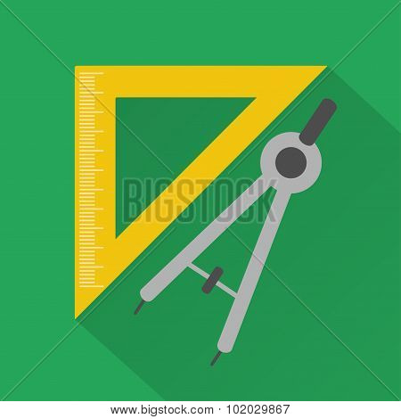 Flat design style  vector illustration,ruler and compass