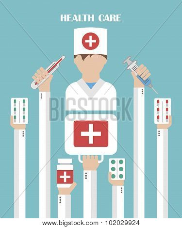 Health care modern flat background