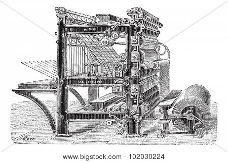 Old engraved illustration of Marinoni Rotary printing press with a roll of paper moving inside it. Dictionary of words and things - Larive and Fleury, 1895