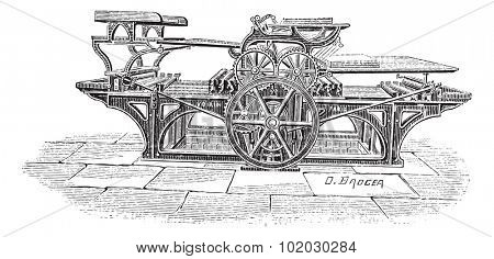 Old engraved illustration of Double printing press, this press can print thousand of papers with both sides printed in an hour. Dictionary of words and things - Larive and Fleury - 1895