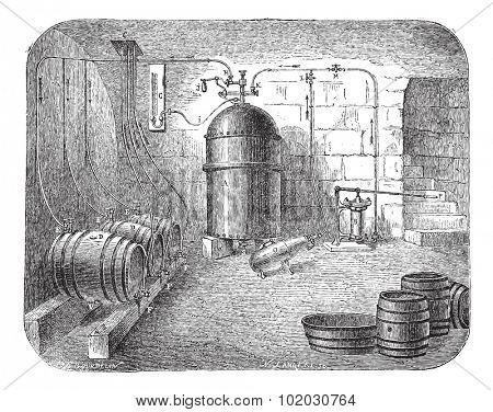 Old engraved illustration of beer pumps. Industrial encyclopedia E.-O. Lami - 1875.