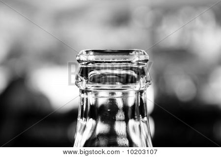 clear glass bottle bottleneck