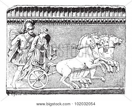 Old engraved illustration of the Return of Helen on quadriga from the Campana collection (Louvre Museum). Dictionary of words and things - Larive and Fleury - 1895