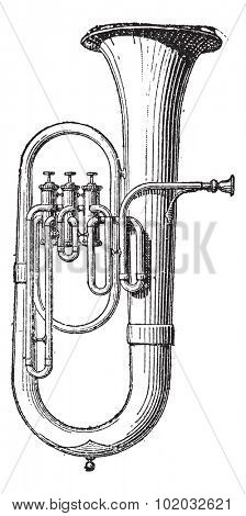 Old engraved illustration of Saxhorn isolated on a white background. Dictionary of words and things - Larive and Fleury - 1895