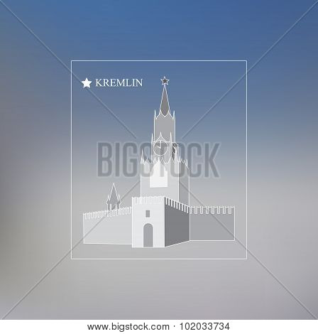 Kremlin On The Blurred Background. Moscow. Banner Design. Stock Vector