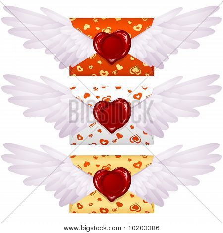 Love letter with wings and wax seal in the shape of heart