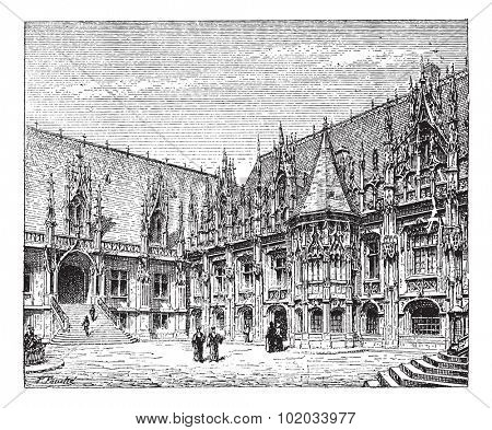 Courthouse of Rouen, France, vintage engraved illustration. Dictionary of words and things - Larive and Fleury - 1895.