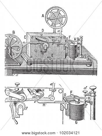 Telegraph, Morse apparatus,  vintage engraved illustration. Dictionary of words and things - Larive and Fleury - 1895.