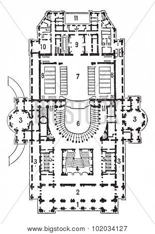 Plan of theater of opera, Paris, vintage engraved illustration. Dictionary of words and things - Larive and Fleury - 1895.