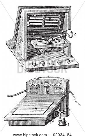 Telephone  microphone ader, vintage engraved illustration. Dictionary of words and things - Larive and Fleury - 1895.