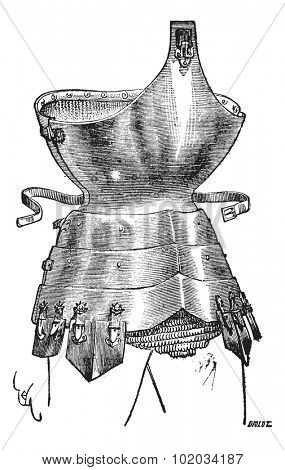 Old engraved illustration of corselet of iron from the fifteenth century, isolated on a white background. Industrial encyclopedia E.-O. Lami - 1875.