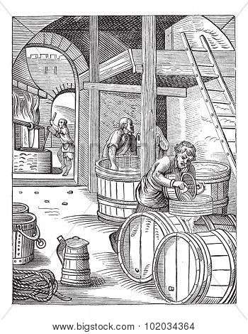 Old engraved illustration of three brewer of the sixteenth century working in the factory. Industrial encyclopedia E.-O. Lami - 1875.