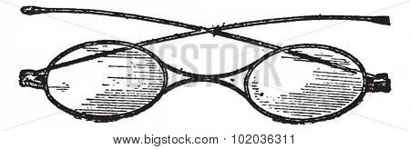 Glasses, x bridge, vintage engraved illustration. Dictionary of words and things - Larive and Fleury - 1895.