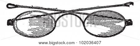 Glasses, c bridge, vintage engraved illustration. Dictionary of words and things - Larive and Fleury - 1895.