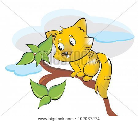 Squirrel or Sciuridae, Cute and Yellow, on a Tree Branch, vector illustration