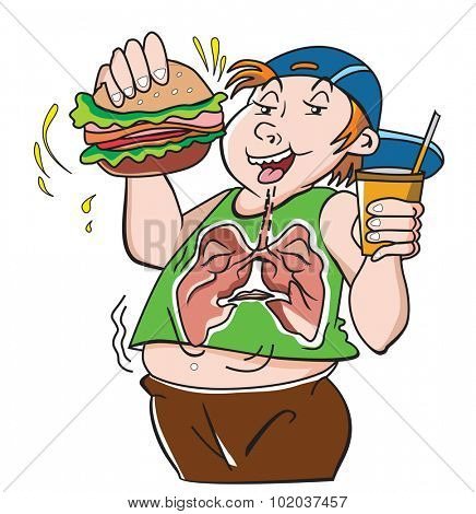 Fat Teenager, with Hamburger Sandwich and Drink, Bad for the Lungs, vector illustration