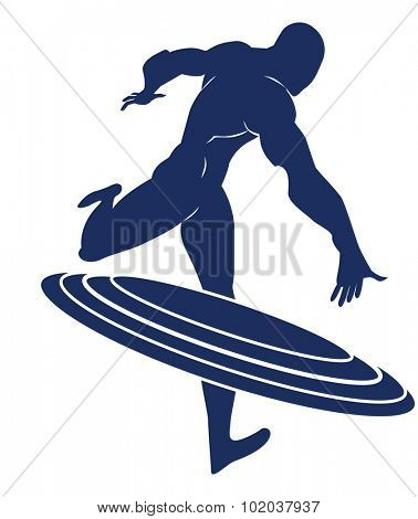 Captain America, Blue Silhouette of a Man, Throwing a Round Shield, vector illustration