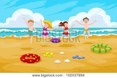 Children at the Beach, Fun in the Sand, vector illustration