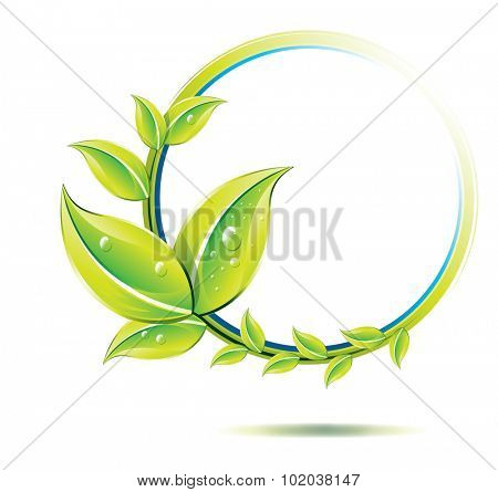 Environment, plant with halo-shaped stem, vector illustration