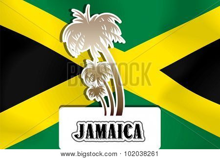 Jamaica, Jamaican flag, palm trees, vector illustration
