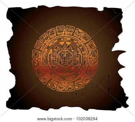 Mayan calendar, circular, vector illustration