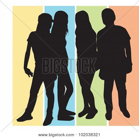 People, group of 4 men and women striking a pose, vector illustration