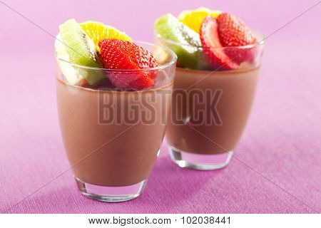 Homemade Chocolate Mousse With Fruits