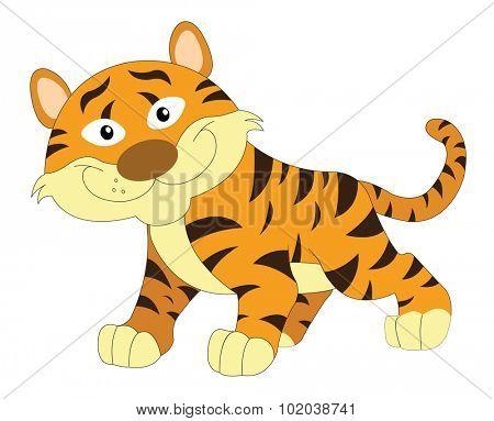 Cute smiling orange and brown tiger, vector illustration